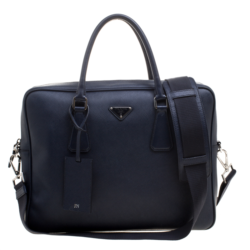 d6fc540960 Buy Prada Navy Blue Saffiano Leather Classic Laptop Bag 113855 at ...