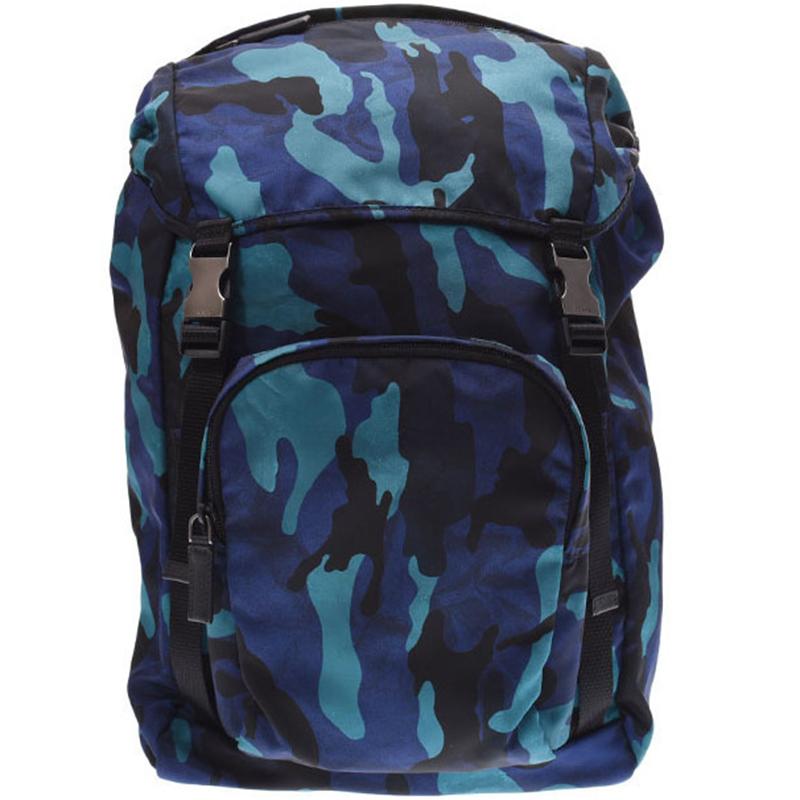 2876d738ea7f Buy Prada Blue Camouflage Print Tessuto Nylon Backpack 181933 at ...