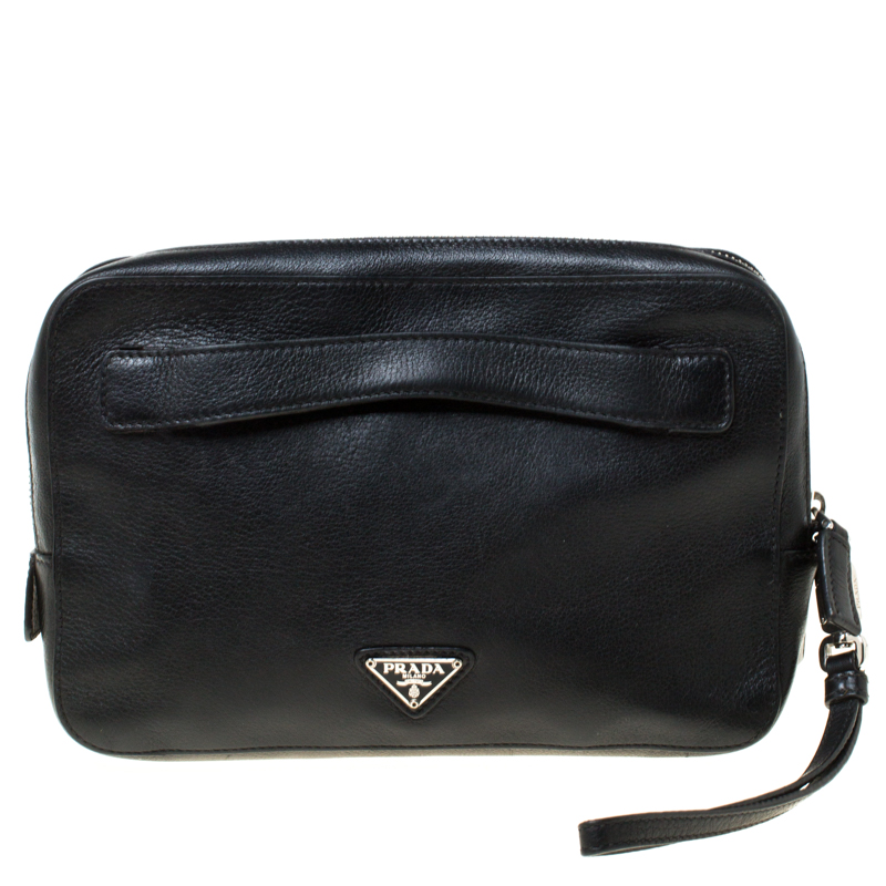 Prada Black Leather Travel Clutch