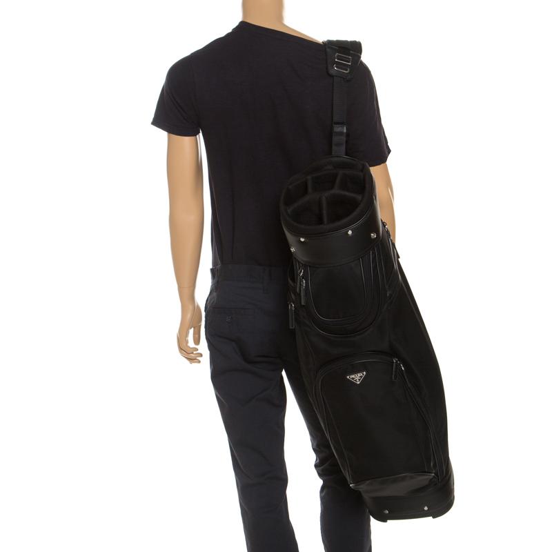 Prada Black Tessuto and Saffiano Leather Golf Bag  - buy with discount