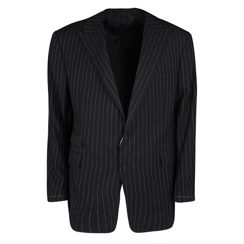 Ralph Lauren Black Dot Striped Wool Regular Fit Blazer XXXL