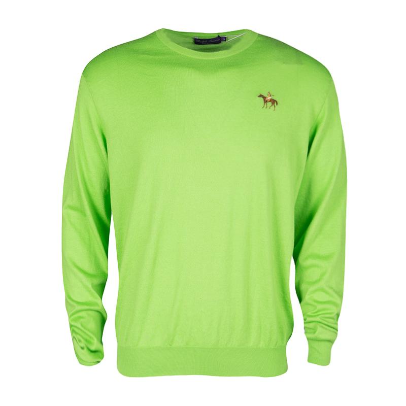 Купить со скидкой Ralph Lauren Kiwi Green Cotton Cashmere Sweater XL