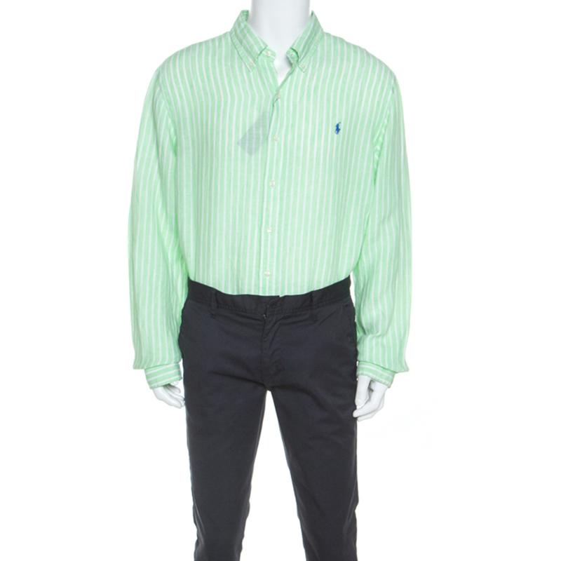 Ralph Lauren Green Striped Ocean Wash Linen Slim Fit Shirt XXL