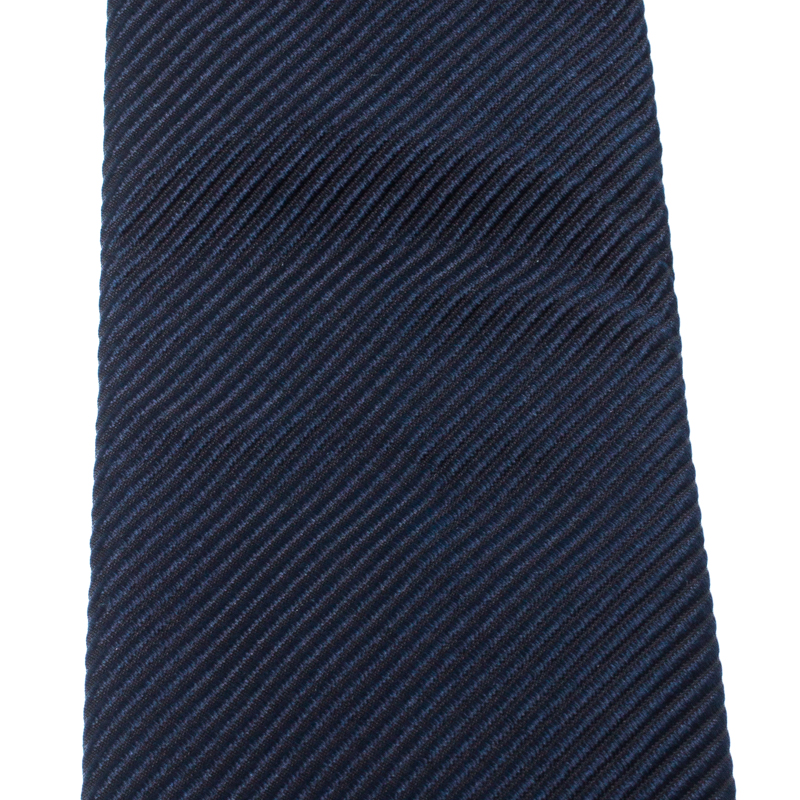 Ralph Lauren Navy Blue Textured Silk Jacquard Tie