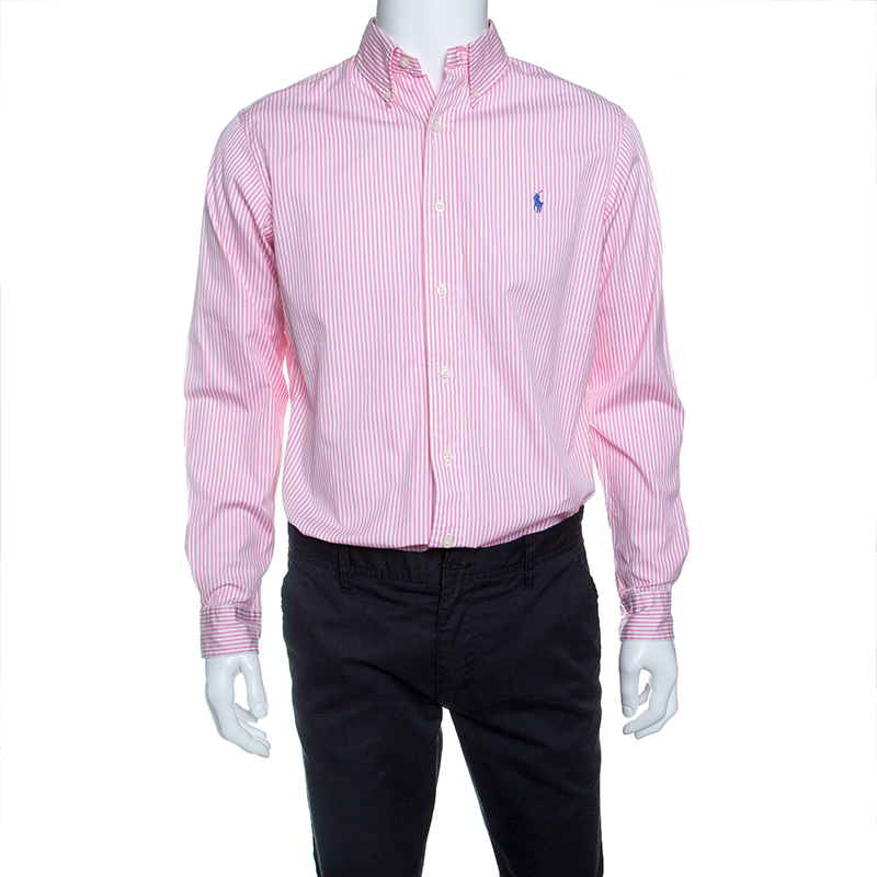 95b88a581f ... Ralph Lauren Pink and White Striped Cotton Button Down Custom Fit Shirt  M. nextprev. prevnext