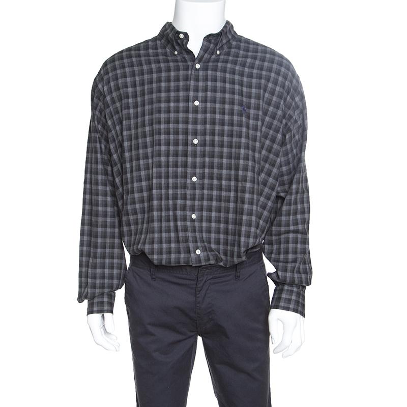 cc415ba84 Buy Ralph Lauren Grey Checkered Logo Embroidered Button Down Blake Shirt XL  152382 at best price