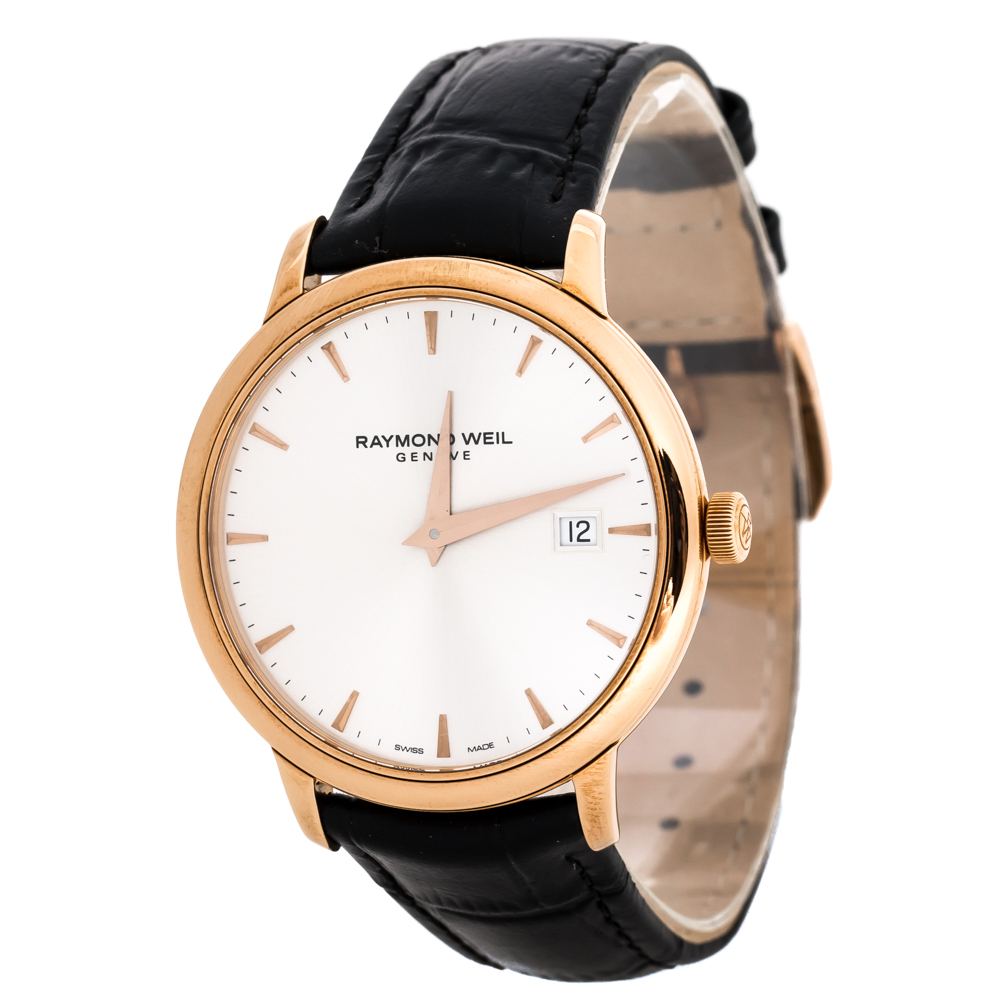 Raymond Weil Silver Rose Gold Plated Stainless Steel Tocatta 5488 Men's Wristwatch 39 mm