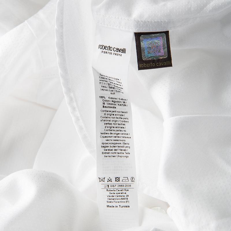 sale retailer a0e10 423b3 Roberto Cavalli White Self Dot Cotton Dobby Long Sleeve Slim Fit Shirt M