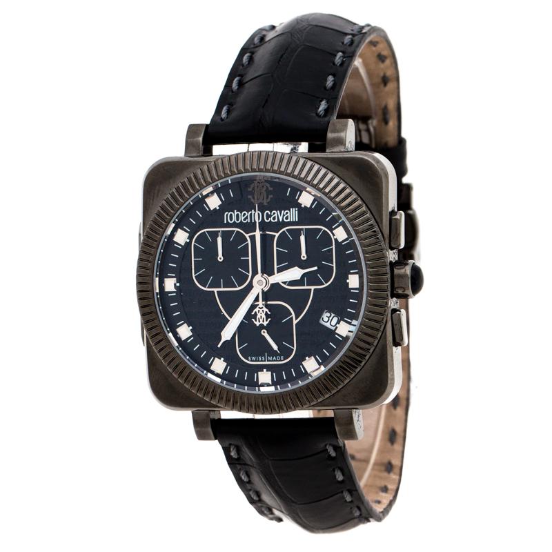 Roberto Cavalli Black PVD Coated Stainless Steel Bohemienne Men's Wristwatch 40 mm