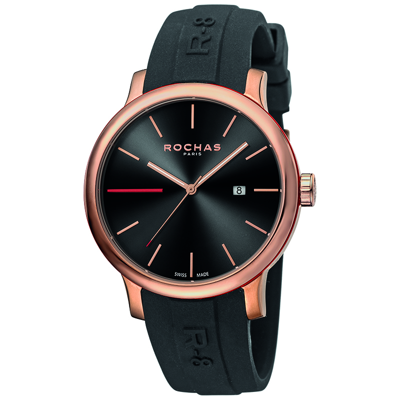 Rochas Black Rose Gold Plated Stainless Steel RP1G015P0011 Men's Wristwatch 42MM