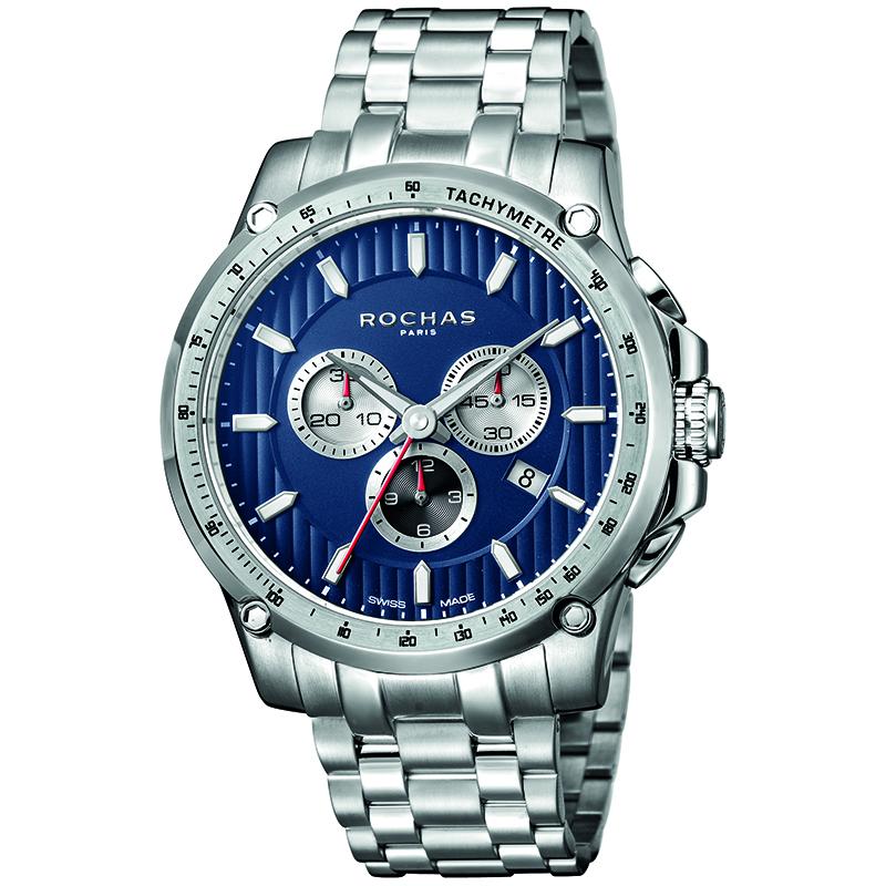 Rochas Dark Blue Stainless Steel RP1G016M0061 Men's Wristwatch 45MM