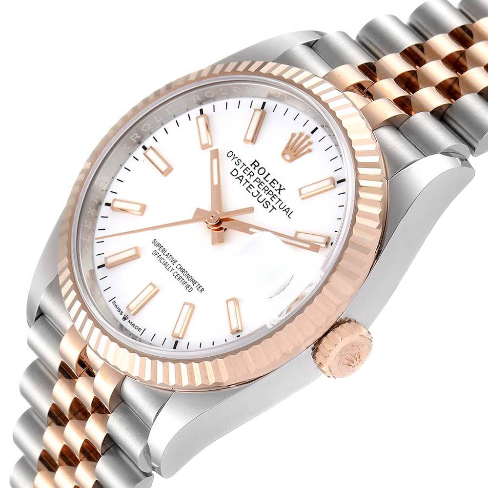Rolex White 18K Rose Gold And Stainless Steel Datejust 126231 Men's Wristwatch 36 MM
