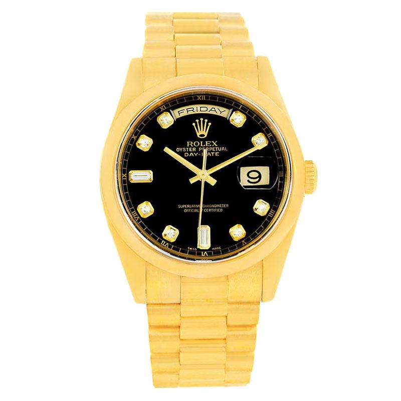 f8dbdbd29f14a ... ساعة يد رجالية رولكس بريزيدنت داي ديت ذهب أصفر عيار 18 سوداء 36مم.  nextprev. prevnext