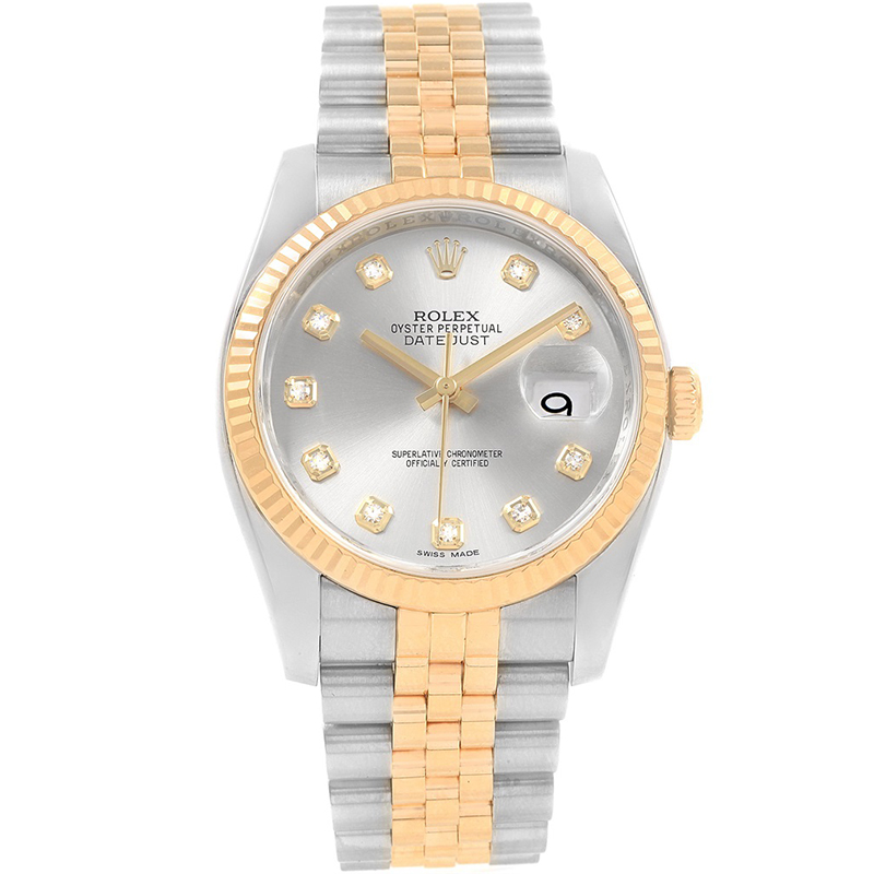 Rolex Silver 18K Yellow Gold and Stainless Steel Datejust Men's Wristwatch 36MM