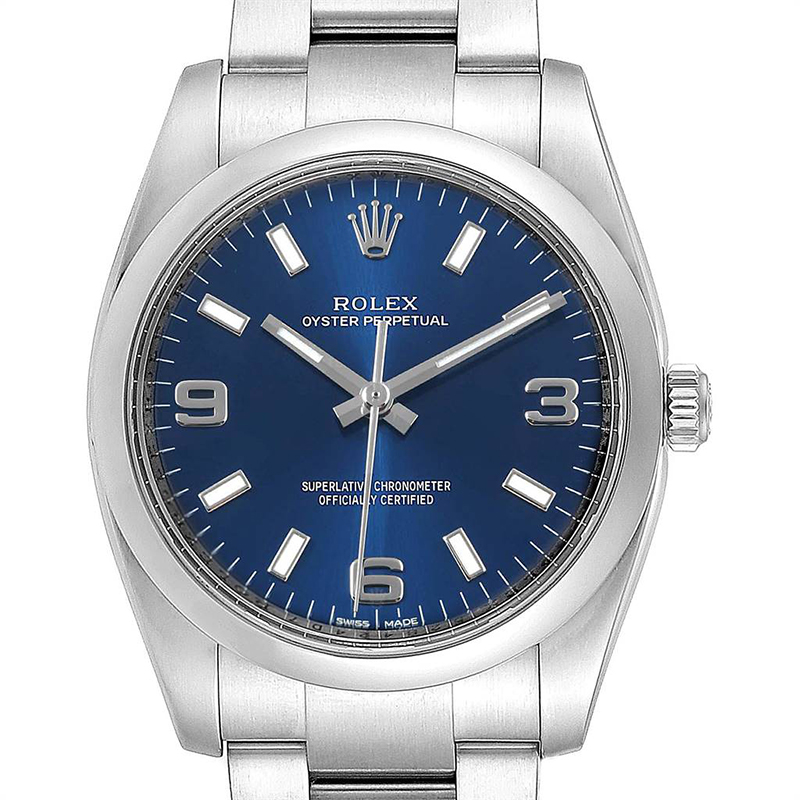 Rolex Blue and Stainless Steel Air King 114200 Men\u0027s Wristwatch 34MM