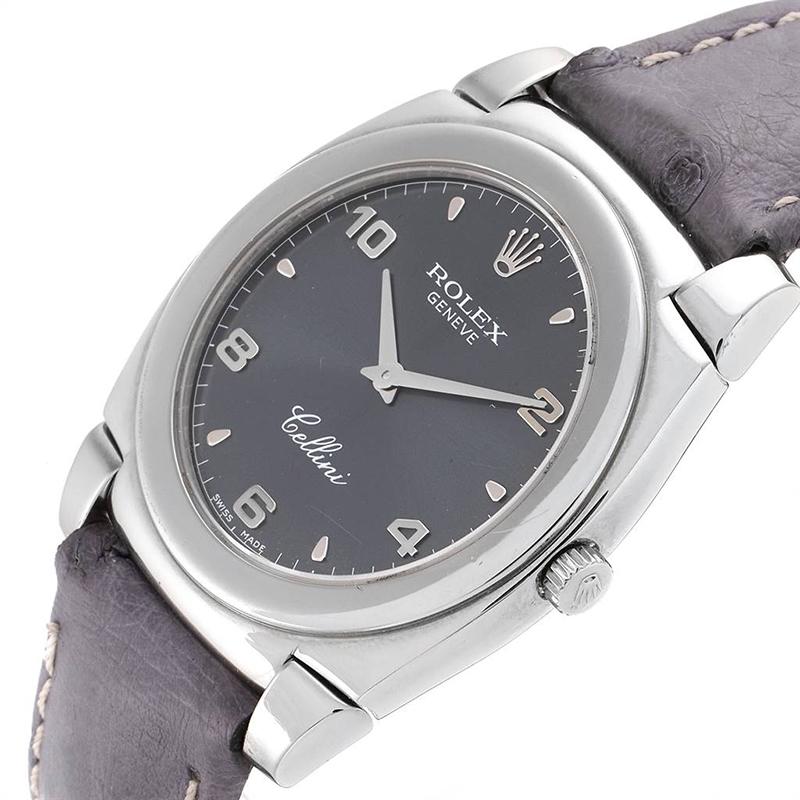 Rolex Schiefer 18K Gold und Leder Cellini Cestello 5330 Herren Armbanduhr 36 MM