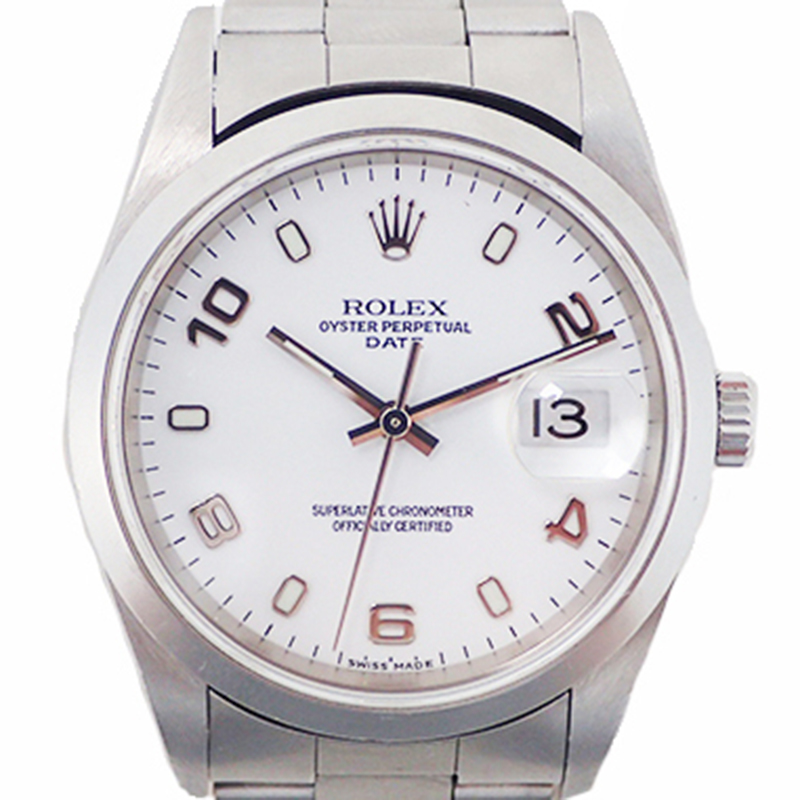 Rolex White and Stainless Steel Automatic