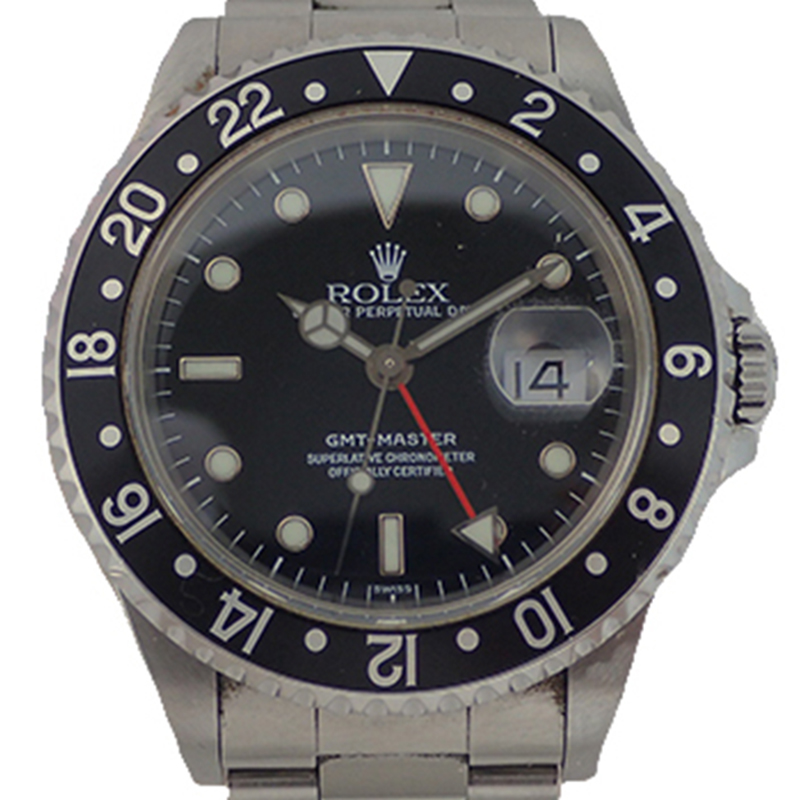 Rolex Black Stainless Steel GMT Master Automatic