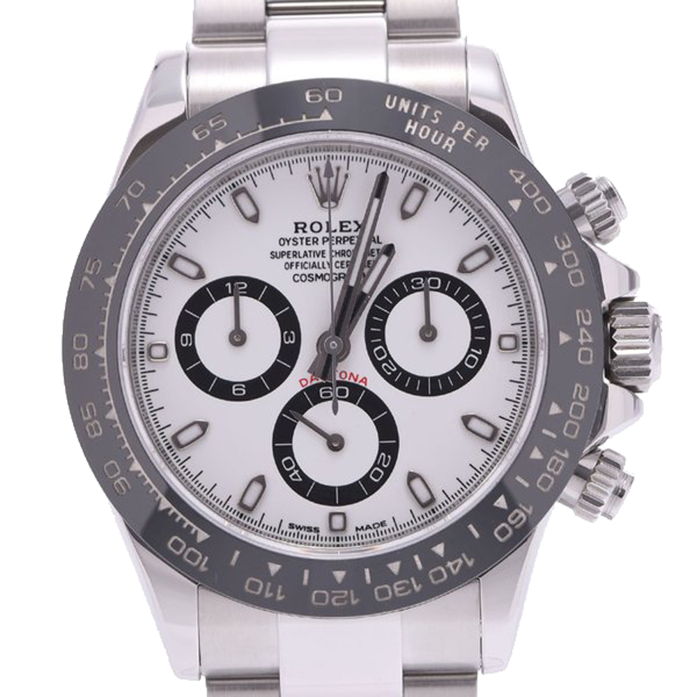 Pre-owned Rolex White Stainless Steel Daytona 116500ln Men's Wristwatch 40 Mm