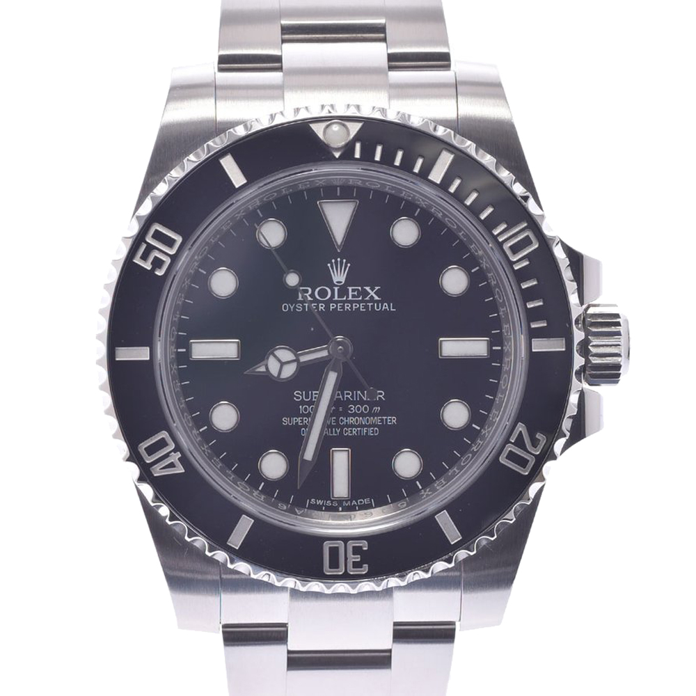 Pre-owned Rolex Black Stainless Steel Submariner 114060 Men's Wristwatch 40 Mm