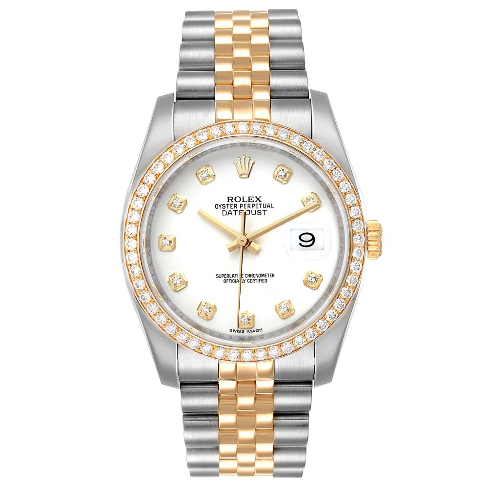 Pre-owned Rolex White Diamonds 18k Yellow Gold And Stainless Steel Datejust 116243 Men's Wristwatch 36 Mm