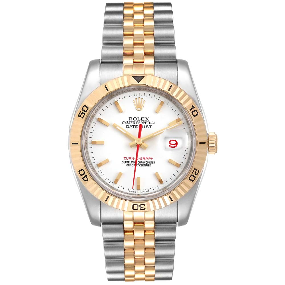 Pre-owned Rolex White 18k Yellow Gold And Stainless Steel Datejust Turnograph 116263 Men's Wristwatch 36 Mm