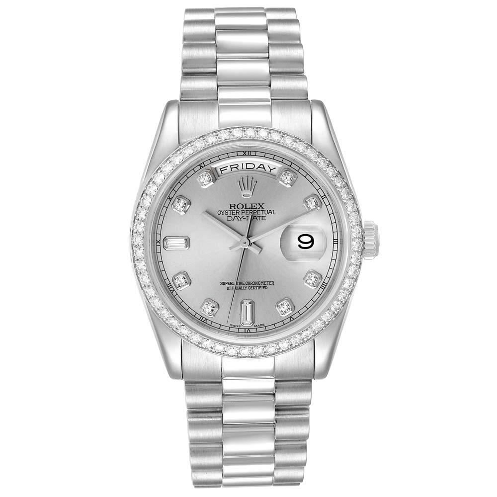 Pre-owned Rolex Silver Diamonds Platinum President Day-date 118346 Men's Wristwatch 36 Mm