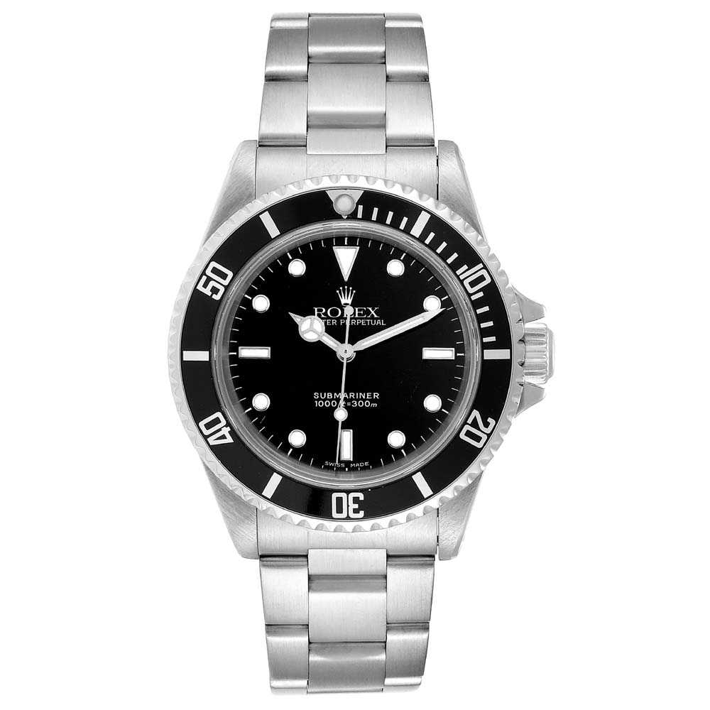 Pre-owned Rolex Black Stainless Steel Submariner 14060 Automatic Men's Wristwatch 40 Mm
