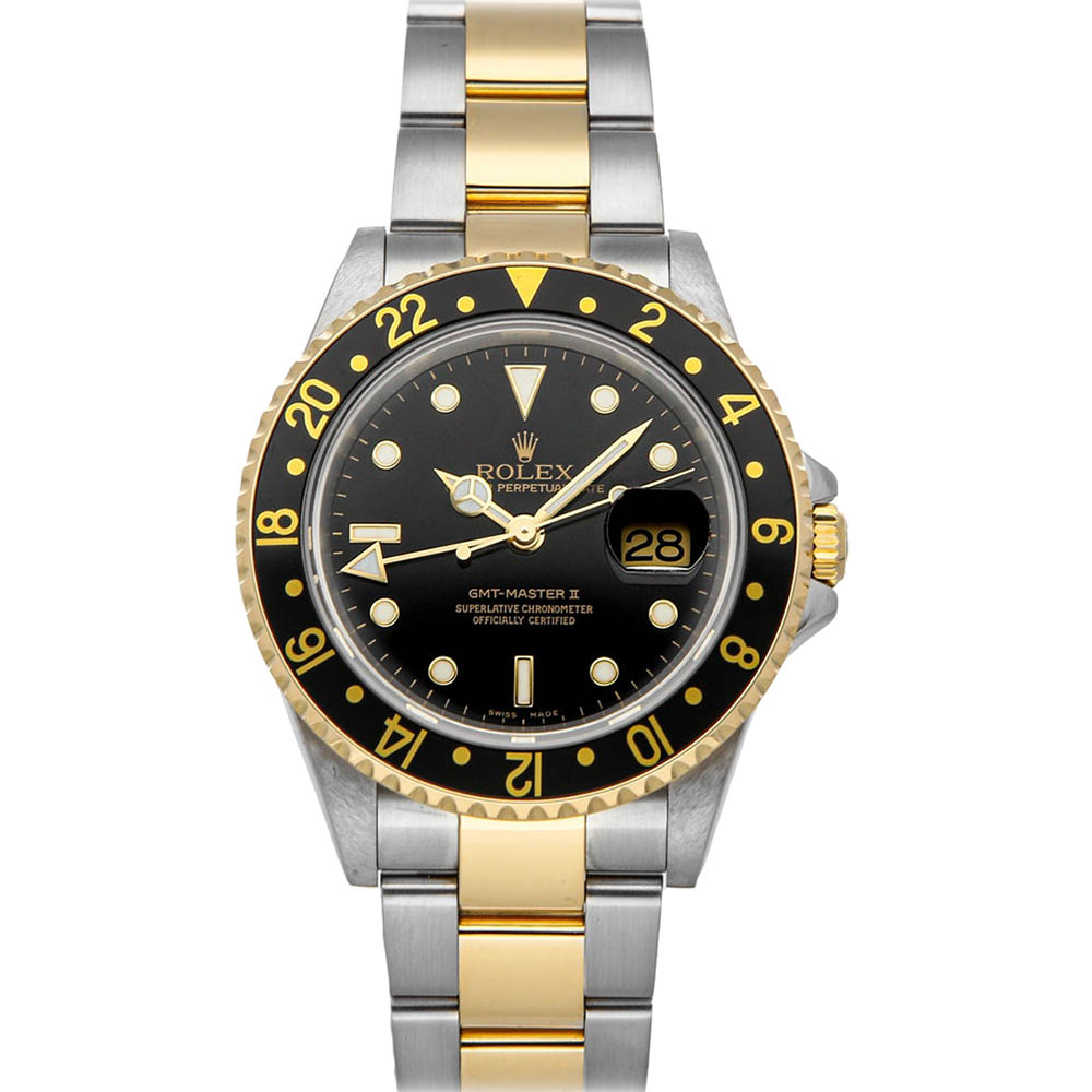 Rolex Black 18K Yellow Gold And Stainless Steel GMT-Master II 16713 Automatic Men's Wristwatch 40 MM