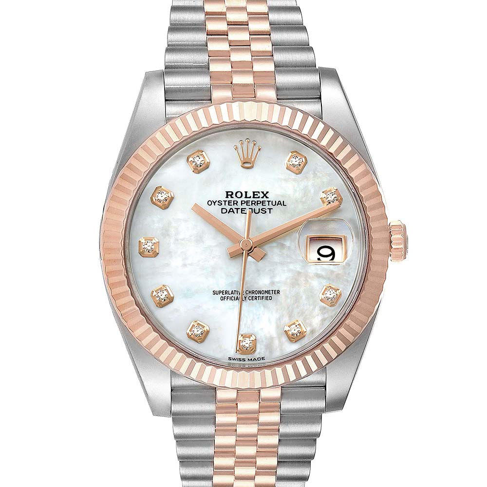 Pre-owned Rolex Mop Diamonds 18k Rose Gold And Stainless Steel Datejust Ii 126331 Men's Wristwatch 41 Mm In White