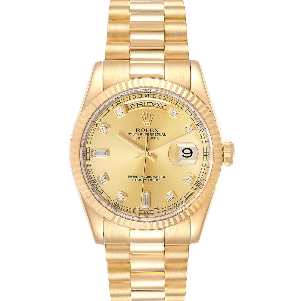 Pre-owned Rolex Champagne Diamonds 18k Yellow Gold President Day Date 118238 Men's Wristwatch 36 Mm