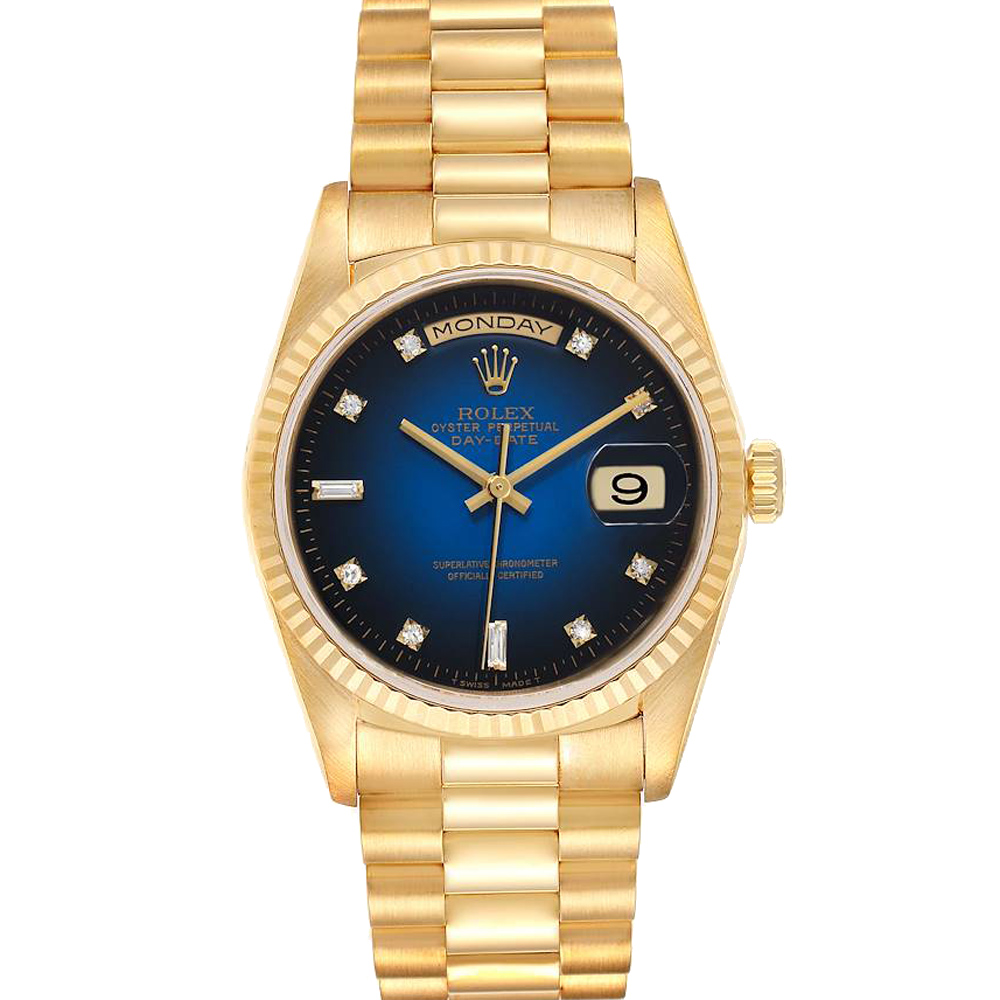 ROLEX BLUE DIAMONDS 18K YELLOW GOLD PRESIDENT DAY-DATE 18238 MEN'S WRISTWATCH 36 MM