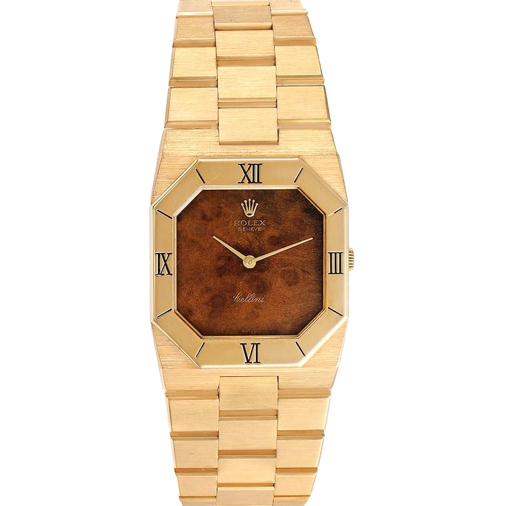 Pre-owned Rolex Brown Wooden 18k Yellow Gold Cellini Octagonal 4350 Men's Wristwatch 30 X 27 Mm
