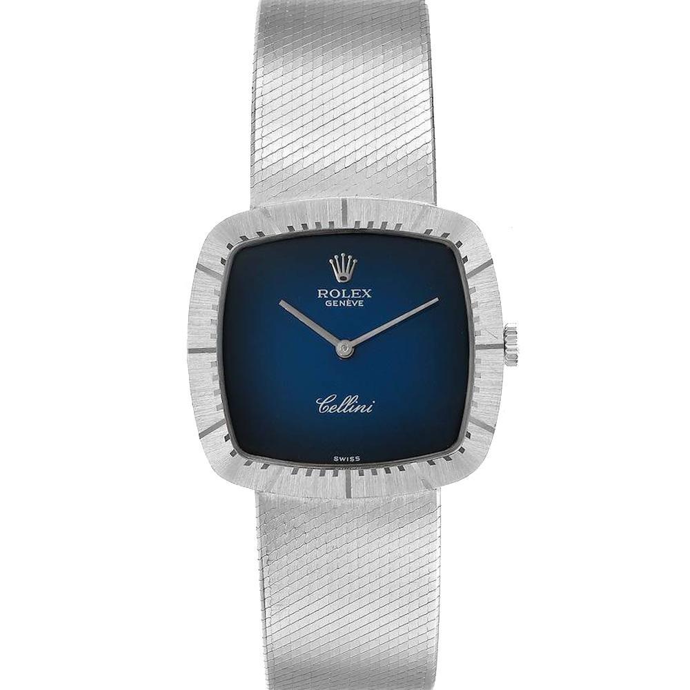 Pre-owned Rolex Blue 18k White Gold Cellini Vintage 4320 Men's Wristwatch 30 X 30 Mm
