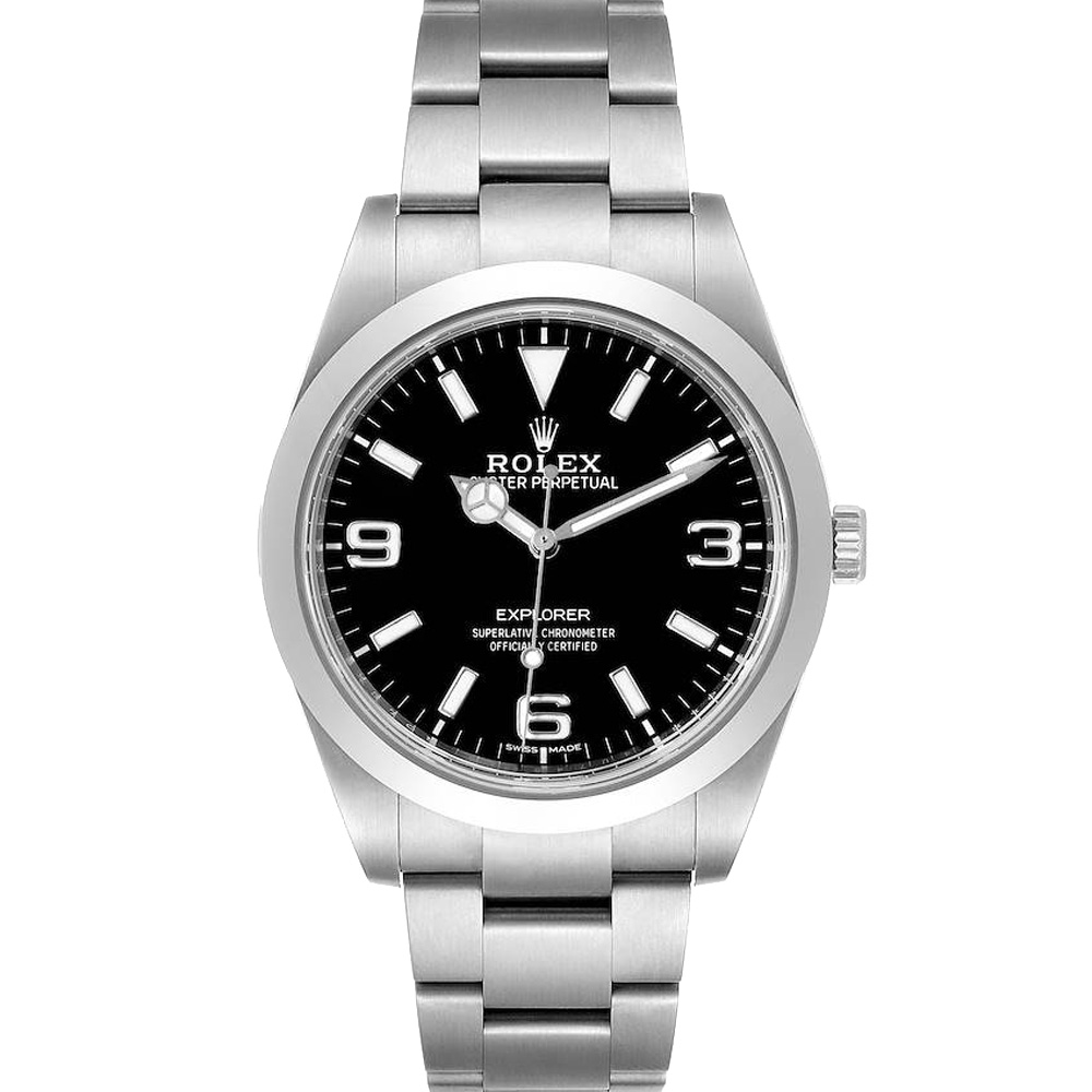 Pre-owned Rolex Black Stainless Steel Explorer I 214270 Automatic Men's Wristwatch 39 Mm