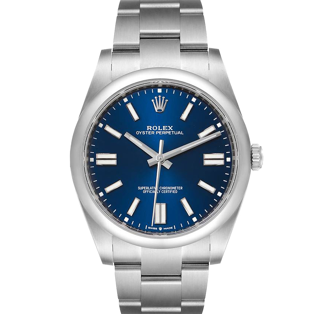Pre-owned Rolex Blue Stainless Steel Oyster Perpetual Automatic 124300 Men's Wristwatch 41 Mm