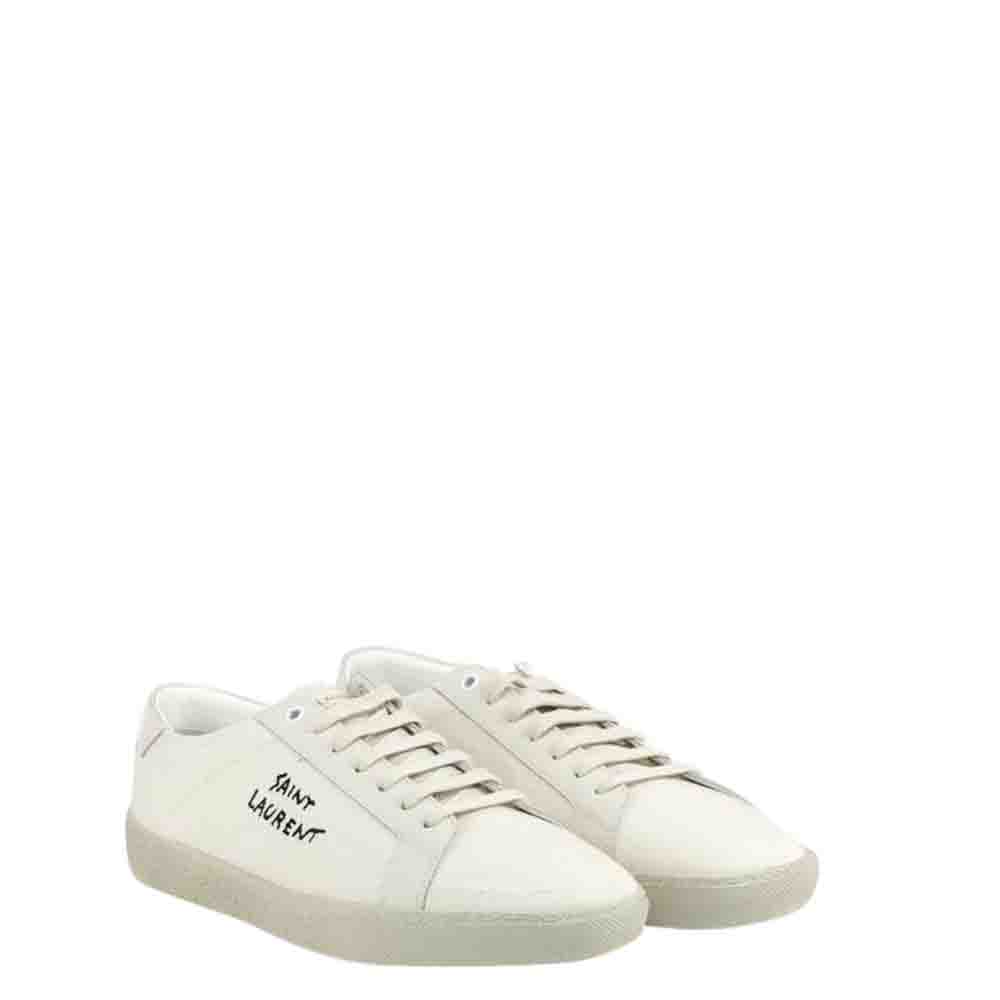 Saint Laurent Paris White Embroidered Court Classic SL/06 Sneakers Size EU 41.5  - buy with discount