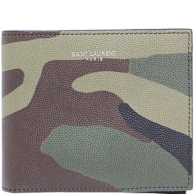 72547d6ee24 ... Saint Laurent Paris Multicolor Camouflage Grain de Poudre Leather Bifold  Wallet. nextprev. prevnext