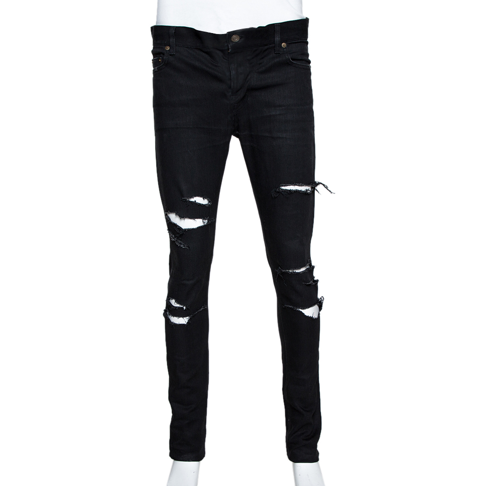 Non complicato viola inodoro  Saint Laurent Paris Black Denim Distressed D02 Skinny Jeans M Saint Laurent  Paris | TLC