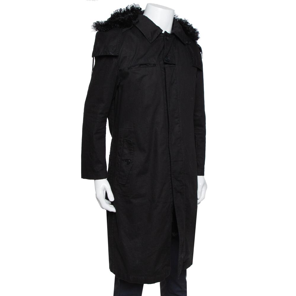 Saint Laurent Paris Black Canvas Fur Lined Hooded Parka XL
