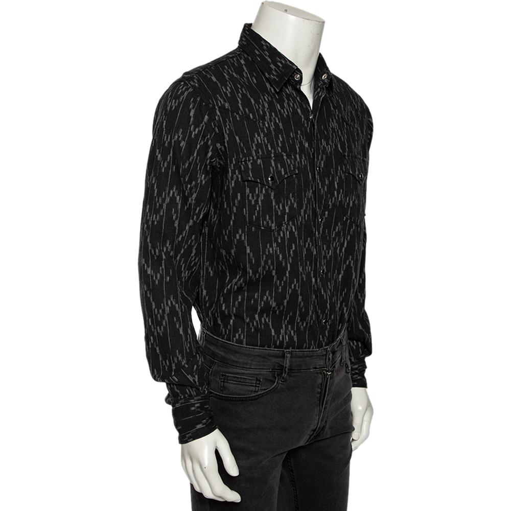 Saint Laurent Charcoal Grey Linen Rinse Pixel Jacquard Shirt L