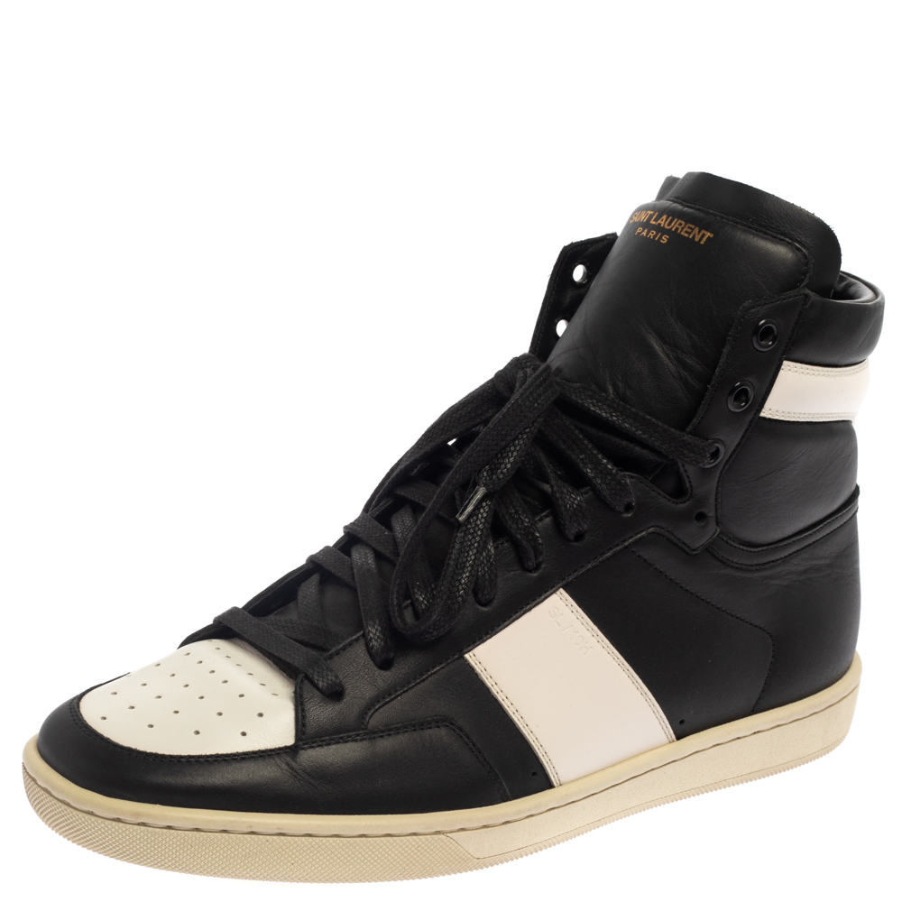 Pre-owned Saint Laurent Paris Saint Laurent White Leather Court Classic High Top Sneakers Size 41 In Black
