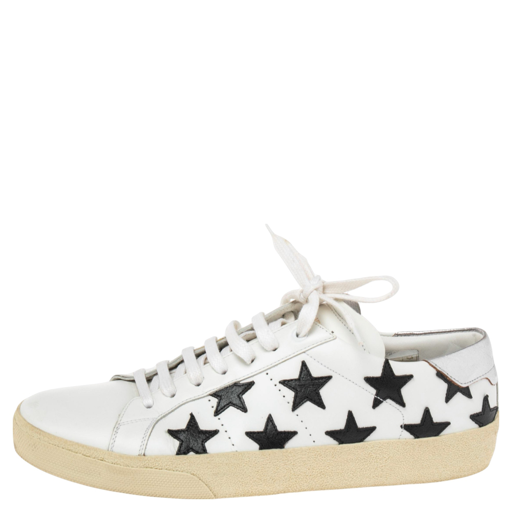 Saint Laurent White Leather Star Court Classic California Sneakers Size 41