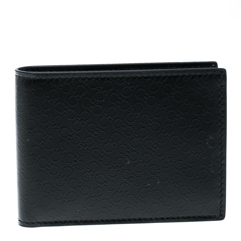 41fd14d168da Buy Salvatore Ferragamo Black Leather Logo Embossed Bifold Wallet ...