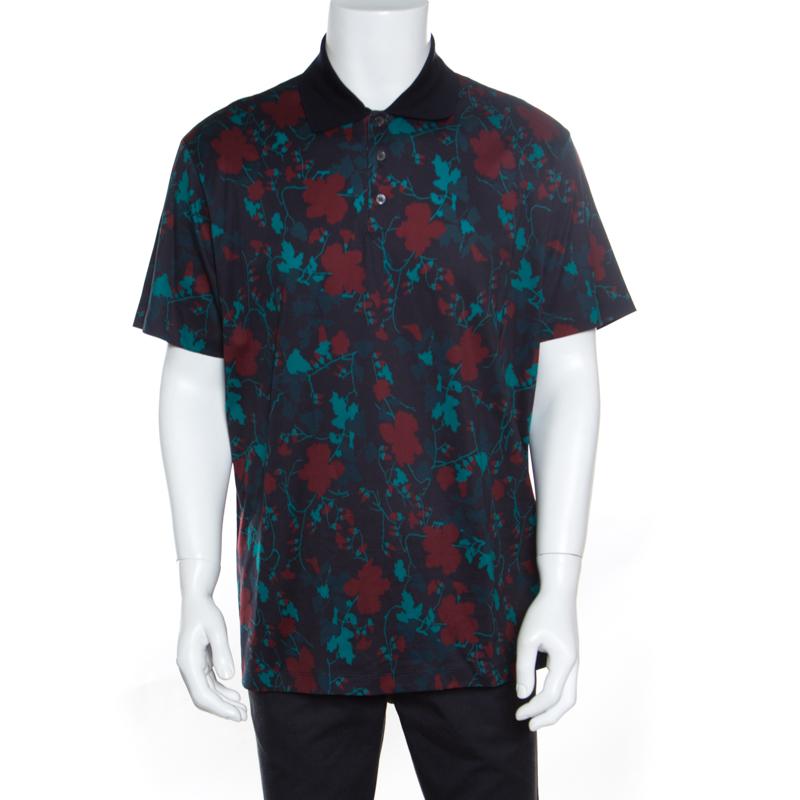 2533e2c50b Salvatore Ferragamo Black Cherry Floral Printed Cotton Polo T-Shirt XXL