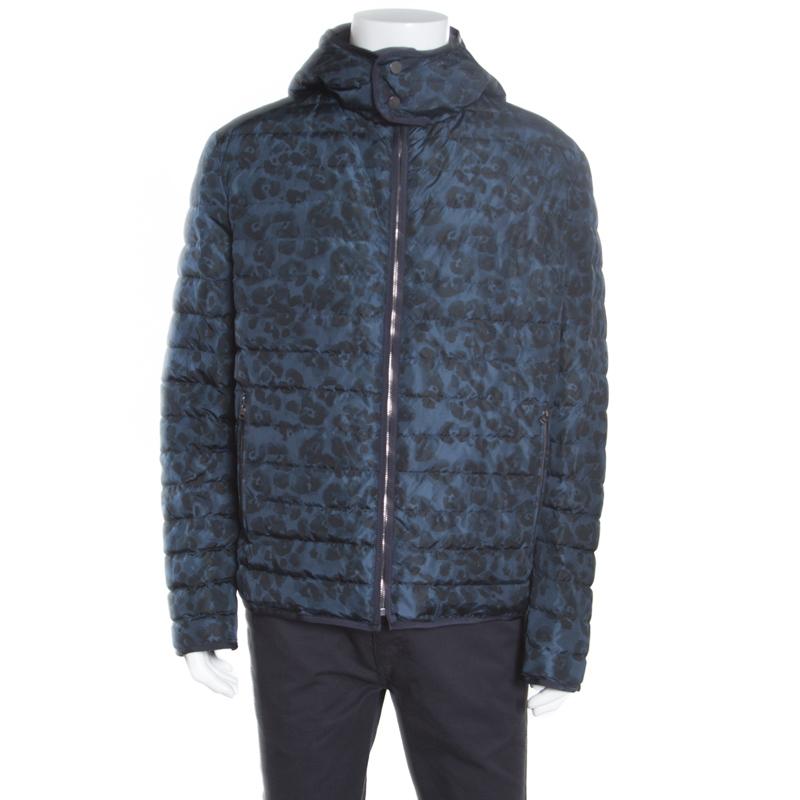 e7e41ddf695d0 Buy Salvatore Ferragamo Blue Camo Print Hooded Zip Front Quilted ...