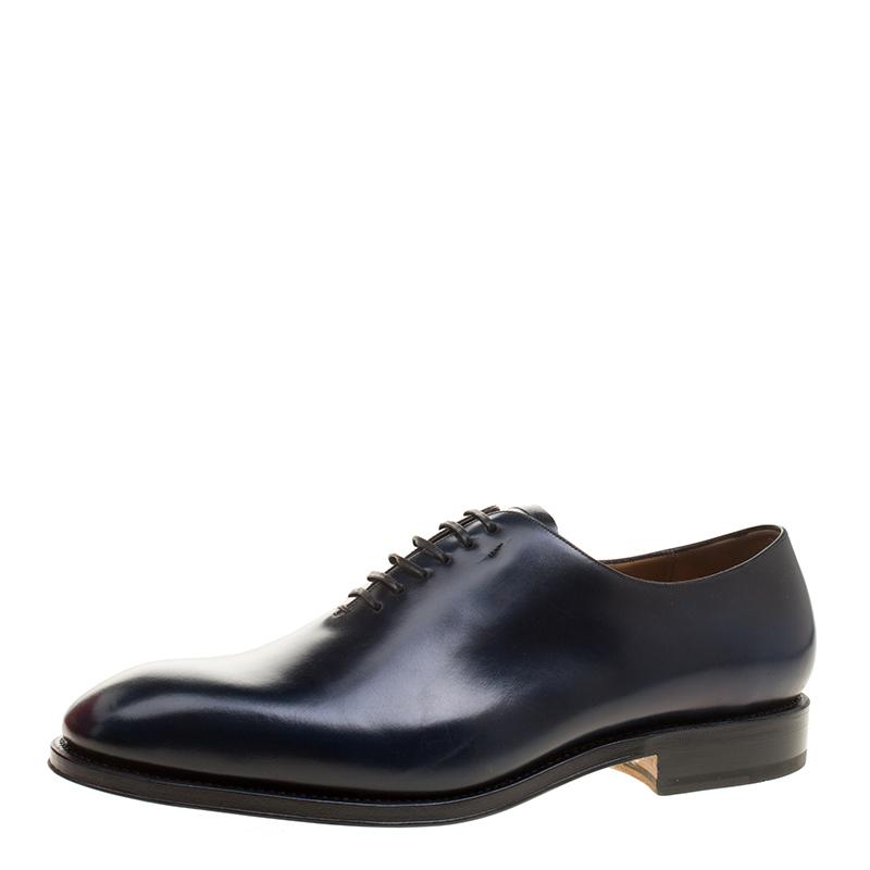 Salvatore Ferragamo Oxford Blue Leather Carmelo Oxfords Size 45