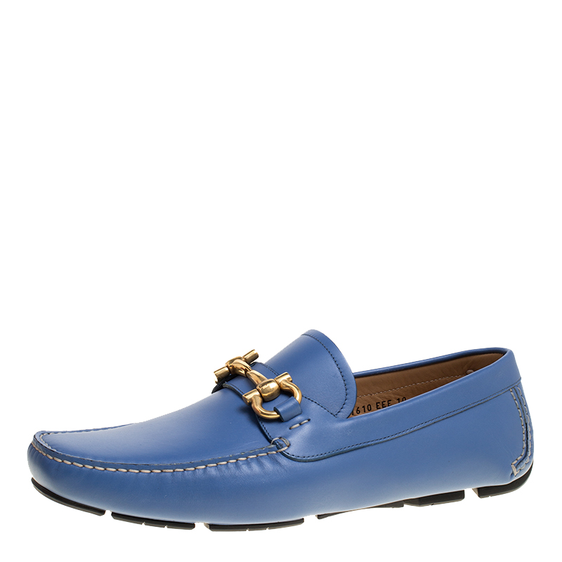 964fd719390 ... Salvatore Ferragamo Blue Leather Parigi Gancini Driver Loafers Size 44.  nextprev. prevnext