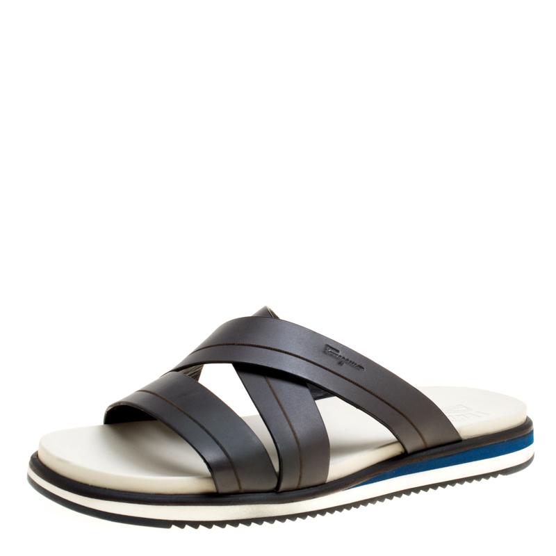 3a4bdd789 ... Salvatore Ferragamo Brown Leather Lao Cross Strap Sandals Size 43.5.  nextprev. prevnext