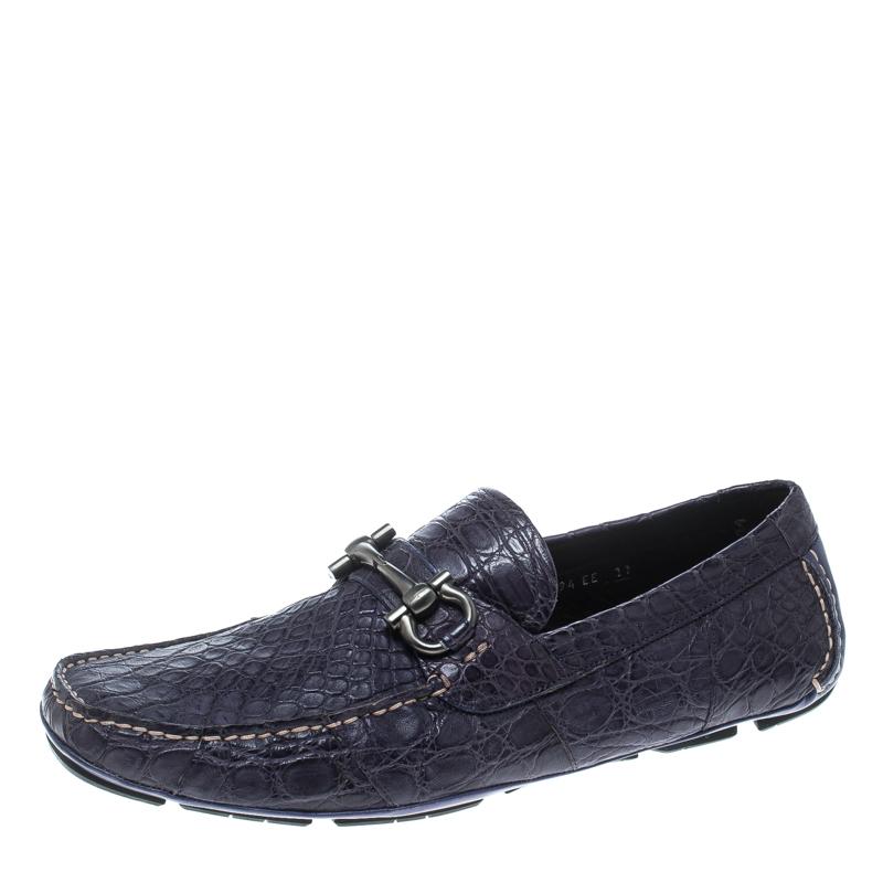 1f5e9e69083 Buy Salvatore Ferragamo Mulberry Purple Crocodile Leather Parigi Bit ...